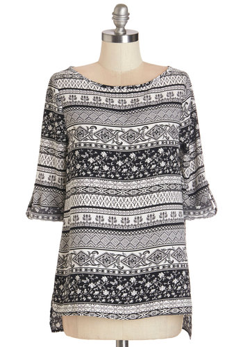 Something Bold, Something New Top - Mid-length, Woven, White, Print, Work, 3/4 Sleeve, Black/White, Tab Sleeve, Black