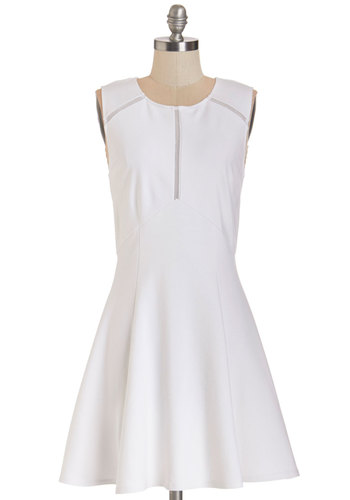 Hello Honeysuckle Dress - White, Solid, Cutout, Casual, A-line, Sleeveless, Summer, Better, Short, Knit