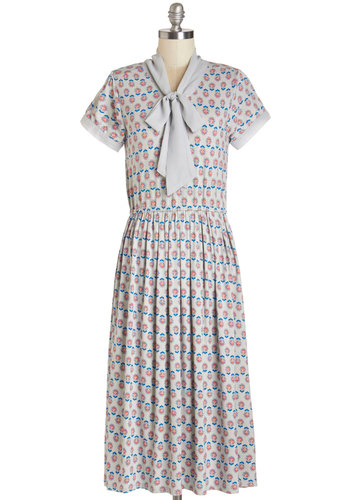 Timeless Quality Dress - Multi, Floral, Trim, Tie Neck, Casual, Vintage Inspired, 40s, A-line, Short Sleeves, Knit, Good, Long, Jersey, Pleats, WPI