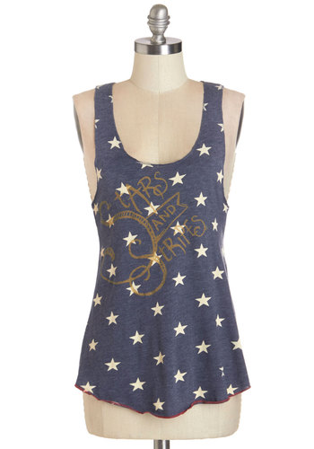 Star-Spangled Planner Tank - Mid-length, Knit, Blue, Novelty Print, Casual, Festival, Americana, Tank top (2 thick straps), Summer, Blue, Sleeveless, White, Good, Cosmic
