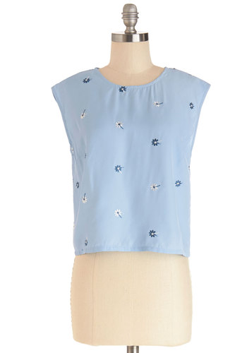 Fresh Florals Top - Short, Woven, Blue, Floral, Pastel, Darling, Cap Sleeves, Spring, Blue, Short Sleeve, Cropped, Embroidery, Casual, Crew