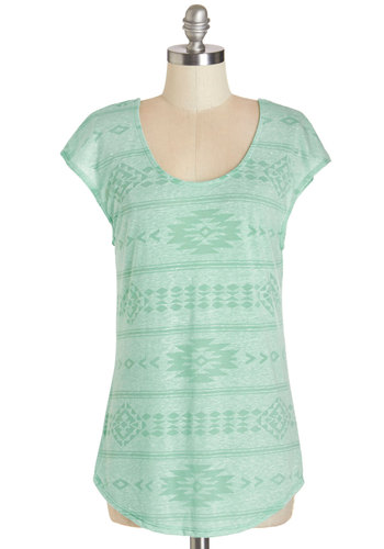 Road Trip Retrospective Tee - Mid-length, Sheer, Knit, Mint, Print, Casual, Spring, Green, Short Sleeve, Cap Sleeves, Scoop