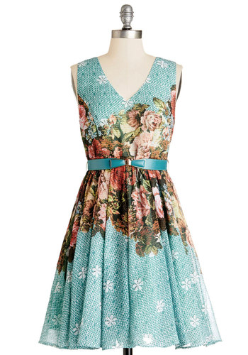 Win You Over Dress by Darling - Mid-length, Chiffon, Woven, Multi, Floral, Belted, Special Occasion, Graduation, A-line, Sleeveless, Better, V Neck, Print
