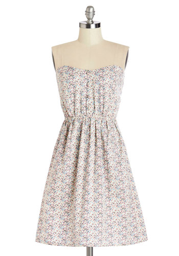 Lovely Poetry Dress - Multi, Floral, Buttons, Ruching, Casual, Sundress, A-line, Strapless, Summer, Woven, Good, Sweetheart, Mid-length