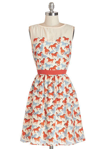 Hay Girl Hay Dress by Pink Martini - Multi, Print with Animals, Cutout, Casual, Critters, A-line, Sleeveless, Better, Scoop, Mid-length, Woven
