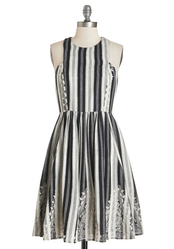 Plenty by Tracy Reese Home Sweet Monochrome Dress by Plenty by Tracy Reese - Mid-length, Cotton, Woven, Black, Grey, Stripes, Special Occasion, Daytime Party, A-line, Sleeveless, Better, Embroidery