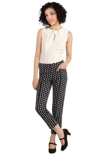 Dots on the Agenda Pants - Good, Full length, Blue, Cotton, Woven, Blue, Tan / Cream, Polka Dots, Pockets, Work, Daytime Party, Cropped, Spring, Summer, Winter, Ankle, Mid-Rise