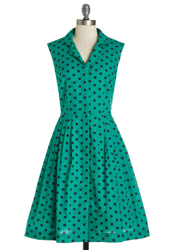 Bake Shop Browsing Dress in Emerald Dots by Emily and Fin - Green, Black, Polka Dots, Casual, Vintage Inspired, 50s, A-line, Sleeveless, Woven, Better, Collared, International Designer, Cotton, Pleats, Pockets, Variation, Social Placements, Long