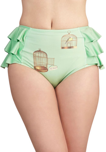 Soaring Toward Sunshine Swimsuit Bottom - Knit, Green, Novelty Print, Ruffles, Beach/Resort, Summer, Exclusives, Bird, Woodland Creature