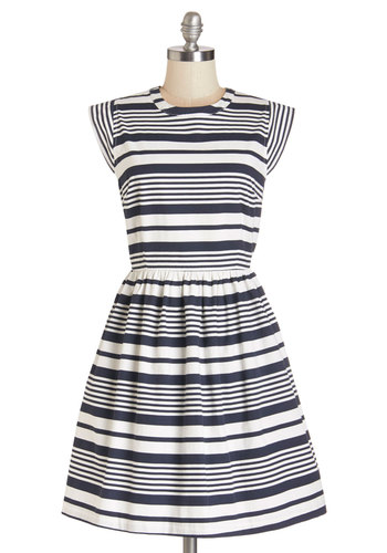 Pier Potluck Dress - Blue, White, Stripes, Casual, Nautical, Americana, A-line, Cap Sleeves, Knit, Better, Mid-length, Cotton, Crew