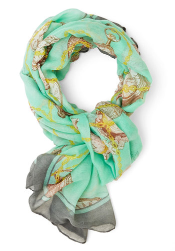 Time to Accessorize Scarf - Mint, Multi, Novelty Print, Green, Woven