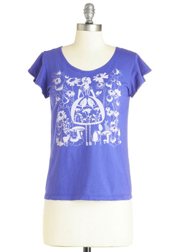 Lovely by Nature Top - Cotton, Knit, Mid-length, Novelty Print, Casual, Short Sleeves, Spring, Short Sleeve, Blue, Blue, White