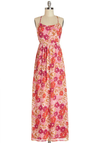 And the Sweet Goes On Dress - Red, Pink, Floral, Backless, Casual, Beach/Resort, Maxi, Sleeveless, Summer, Woven, Good, Scoop, Long, Chiffon