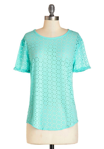 Couldn't Bask for More Top - Blue, Short Sleeve, Mid-length, Woven, Cutout, Casual, Pastel, Short Sleeves, Spring, Summer, Mint, Good