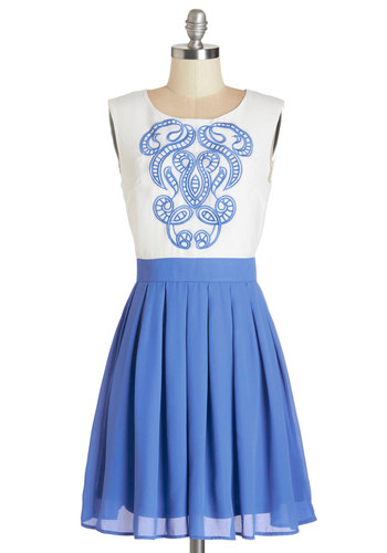 Network of Art Dress - Blue, White, Embroidery, Pleats, Casual, A-line, Sleeveless, Summer, Woven, Good, Scoop, Mid-length