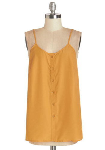 Cookout for the Day Top in Mustard - Mid-length, Woven, Yellow, Solid, Buttons, Casual, Beach/Resort, Boho, Sleeveless, Spring, Summer, Good, Scoop, Yellow, Sleeveless