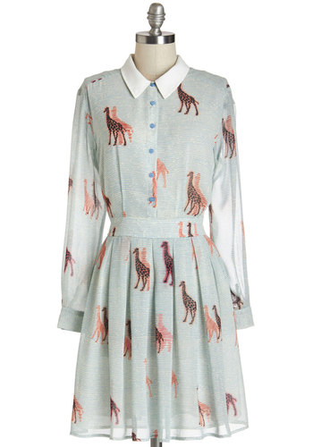 Walk Tall Dress - Multi, Print with Animals, Buttons, Pleats, Casual, A-line, Long Sleeve, Woven, Better, Collared, Mid-length, Chiffon, Social Placements, Critters