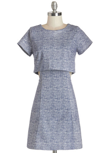 Critical Mastery Dress - Print, Casual, Shift, Short Sleeves, Woven, Good, Scoop, Mid-length, Blue, Exposed zipper