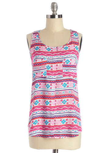 Get Bright On It Top - Mid-length, Woven, Pink, Print, Pockets, Casual, Folk Art, Sleeveless, Spring, Summer, Good, Scoop, Pink, Multi, Sleeveless