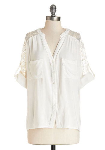 Ever Refreshing Top - Mid-length, Sheer, Woven, Lace, White, Solid, Casual, Button Down, Short Sleeves, Spring, Summer, White, Short Sleeve, Eyelet, Good