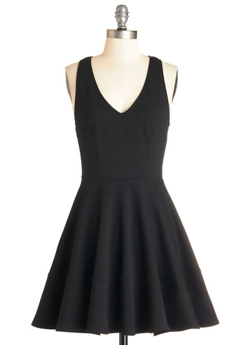 Here and Bow Dress - Black, Solid, Party, LBD, Fit & Flare, Sleeveless, Better, V Neck, Knit, Mid-length