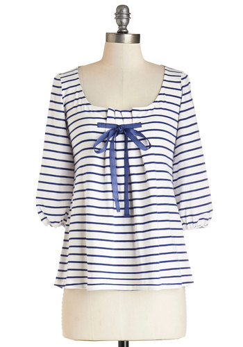 Good Latitude Top in Navy - Mid-length, Knit, Stripes, Bows, Pleats, Beach/Resort, Nautical, 3/4 Sleeve, Good, Scoop, White, 3/4 Sleeve, Blue, White, Multi