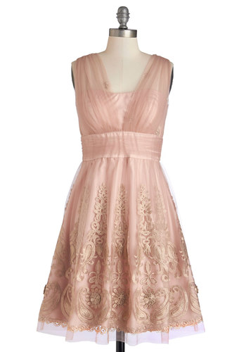 Layered Petit Fours Dress - Pink, Gold, Embroidery, Special Occasion, Prom, Wedding, Bridesmaid, Homecoming, A-line, Sleeveless, Better, V Neck, Mid-length, Social Placements, Full-Size Run