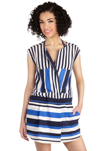 You Can FroYo Own Way Dress - Stripes, Pockets, Casual, Drop Waist, Sleeveless, Better, Nautical, Short, Satin, Woven, Blue, White, Beach/Resort, Exclusives