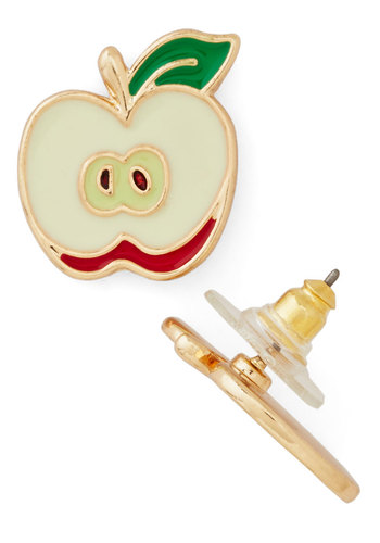 How 'Bout Them Apples? Earrings - Cream, Red, Green, Solid, Fruits, Scholastic/Collegiate, Gold, Good, Under $20