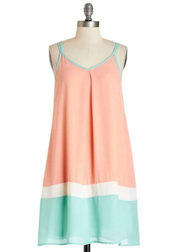 Trapeze Your Mind Dress - Multi, Casual, Beach/Resort, Colorblocking, Tent / Trapeze, Sleeveless, Summer, Woven, Good, V Neck, Mid-length, Pastel, Social Placements