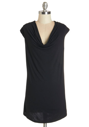 Casting Impression Tunic - Black, Sleeveless, Mid-length, Jersey, Knit, Black, Solid, Casual, Minimal, Sleeveless, Spring, Summer, Good, Cowl
