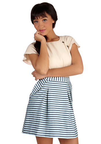 Pack Your Passport Skirt by Pink Martini - Short, Cotton, Woven, Stripes, A-line, Spring, Summer, Multi, Blue, Work, Good