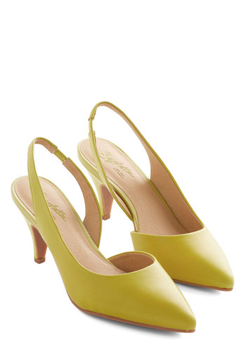Playtime Heel in Lemon by Seychelles - Mid, Leather, Yellow, Solid, Work, Vintage Inspired, Slingback, 80s