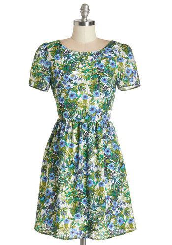 Tropic Up the Tempo Dress - Floral, Cutout, Casual, Sundress, A-line, Short Sleeves, Summer, Woven, Better, Scoop, Mid-length, Multi