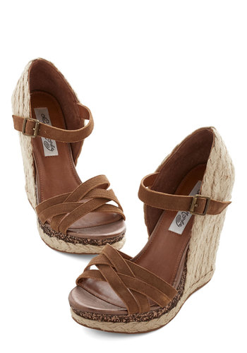 Bonfire at the Beach Sandal - High, Leather, Suede, Woven, Mixed Media, Brown, Tan / Cream, Solid, Casual, Daytime Party, Beach/Resort, Sundress, Summer, Wedge, Espadrille, Glitter