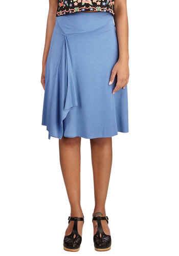 Parade of Praise Skirt - Blue, A-line, Mid-length, Jersey, Knit, Blue, Solid, Casual, Beach/Resort, Minimal, Good