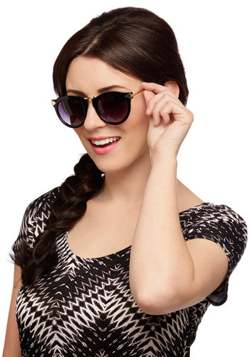 Keep On Shining Sunglasses - Black, Gold, Solid, Beach/Resort, Black, Summer, Social Placements