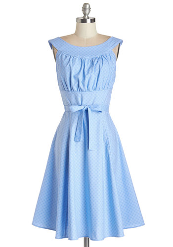 Evening Glow Dress in Periwinkle - Long, Cotton, Woven, Blue, Solid, Belted, A-line, Spring, Boat, Social Placements, Holiday Party