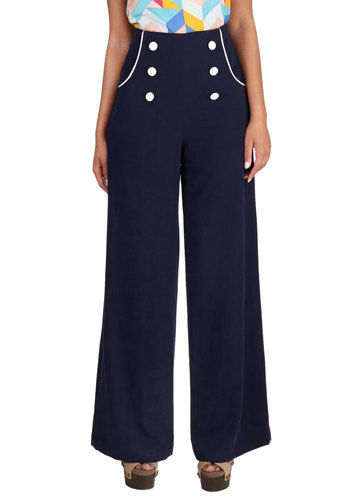 Follow the Lido Pants - Wide Leg, Long, Better, Mid-Rise, Full length, Blue, Non-Denim, Woven, Blue, White, Buttons, Trim, Nautical, Spring