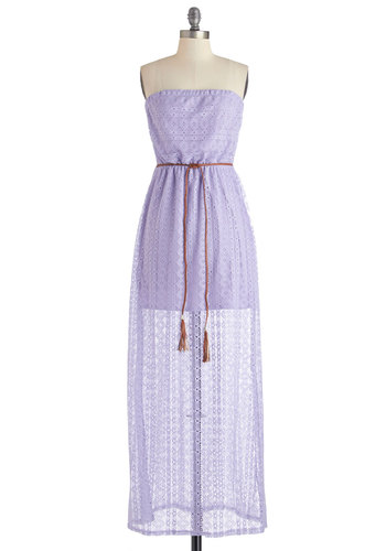 Quiet Moments Dress - Purple, Solid, Fringed, Lace, Belted, Casual, Sundress, Festival, Maxi, Strapless, Summer, Woven, Good, Long, Boho