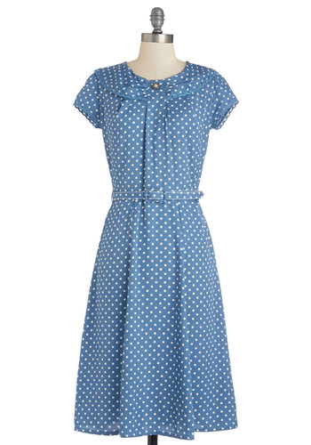 Lively Laughter Dress - Long, Woven, Blue, White, Polka Dots, Belted, Casual, A-line, Short Sleeves, Better, Buttons, Crochet, Trim