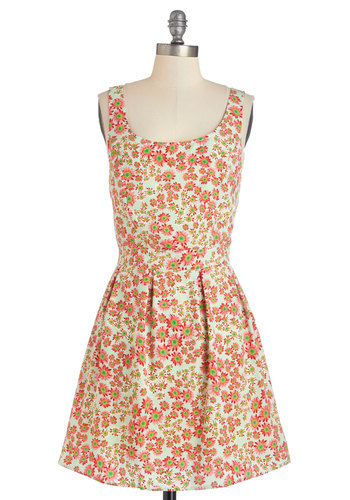 Playful at the Park Dress - Multi, Floral, Buttons, Cutout, Pleats, Casual, Sundress, A-line, Sleeveless, Summer, Woven, Good, Scoop, Mid-length, Social Placements