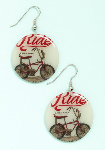 Highways and Bikeways Earrings - Red, Black, Novelty Print, Americana, Spring, Summer, White, Cream, Silver