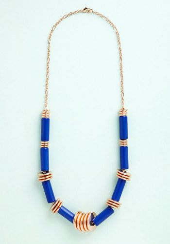 Enthrall Aboard! Necklace - Blue, Solid, Boho, Festival, Gold, Exclusives, Americana, Gold, Beads, Press Placement