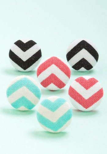 Turn Your Radio Chevron Earring Set - Red, Black, Mint, White, Chevron, Casual, Americana, Spring, Summer