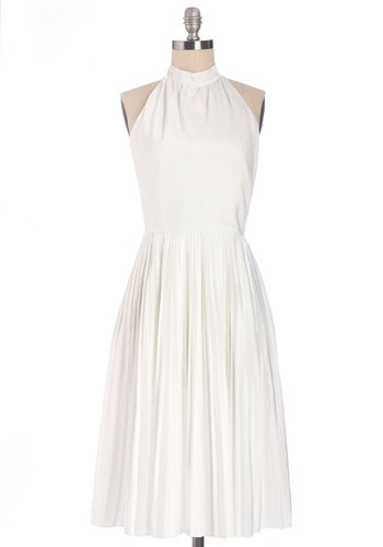 Straight-up Sophistication Dress - Long, Satin, Woven, White, Solid, Special Occasion, Wedding, Graduation, Bride, A-line, Sleeveless, Better, Press Placement, Full-Size Run, Exclusives
