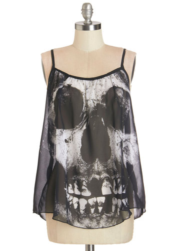 Toothy Grin Top - Black, White, Novelty Print, Casual, Skulls, Spaghetti Straps, Better, Scoop, Black, Sleeveless, Mid-length, Sheer, Woven