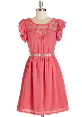 Indie Darling Dress in Coral - Coral, Solid, Embroidery, Lace, Ruffles, Casual, Boho, A-line, Cap Sleeves, Woven, Good, Scoop, Lace, Belted, Top Rated, Full-Size Run, Mid-length
