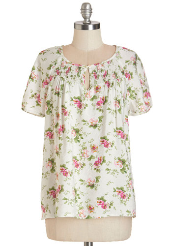 Haute Off the Press Top - Mid-length, Woven, White, Floral, Casual, Boho, French / Victorian, Darling, Short Sleeves, Spring, Summer, Good, Scoop, White, Short Sleeve, Green, Pink