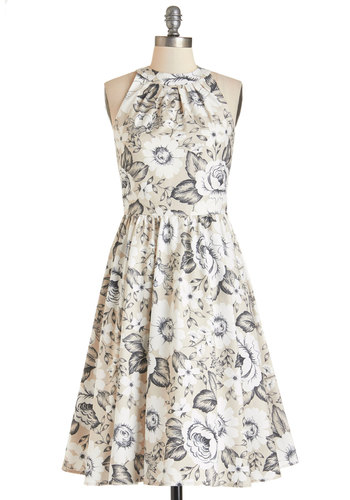 Pros and Congrats Dress in Beige - Floral, Daytime Party, A-line, Sleeveless, Better, Cotton, Woven, Tan, Black, White, Graduation, Full-Size Run, Long